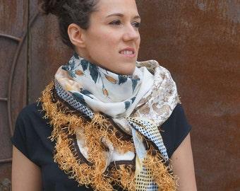 Shawl made using vintage silk scarfs - Yellow