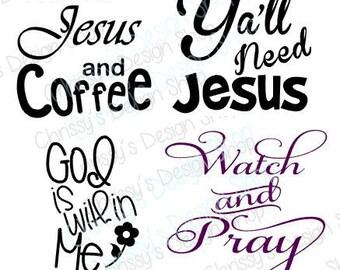 Jesus SVG silhouette file bundle / Yall Need Jesus svg / Religious SVG / God SVG / Coffee svg / Svg bundle / Jesus silhouette / Pray svg