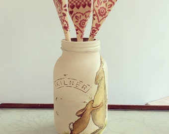 Kilner Jars 1ltr - Decoupaged with rabbit motif