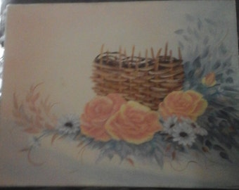 Signed Original oil painting woven basket