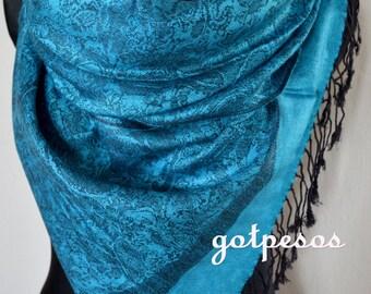 Pashmina Scarf Shawl for Women BLUE / BLACK