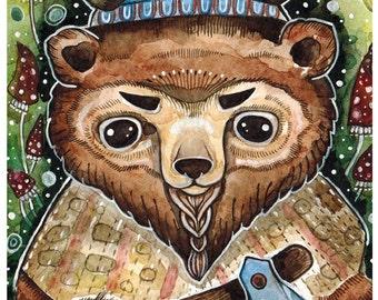 Bear Watercolor Print Nursery Bear Art Print Wall Decor Bear Poster Viking Bear Painting Watercolor Bear Cute Print