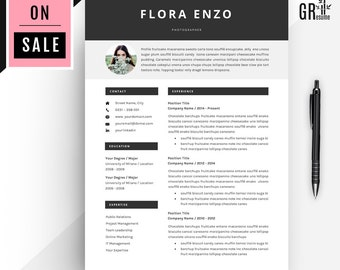 40% OFF Professional Resume Template - Instant Digital Download - Simple Resume Template - Clear Resume Template - Flora Enzo