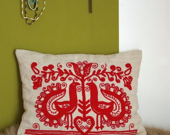 Linen cushions, hand-embroidered