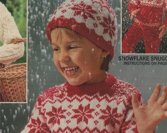 Childrens Snowflake Fair Isle Sweater and Hat PDF Knitting Pattern : Boy or Girl 24, 26 & 28 inch chest . Fairisle Jumper . Digital Download