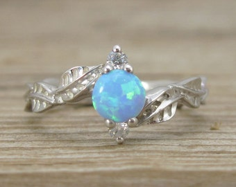 Leaf Engagement Ring, opal Leaf Engagement Ring, Opal Leaf Ring, Leaves Ring, Natural Floral Engagement Ring, Opal ring