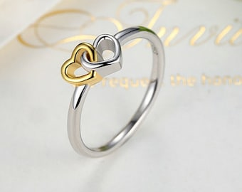 Authentic 925 Sterling Silver 2016 Summer Collection Heart to Heart Ring With 14K Gold, Compatible with European Pandora Jewelry Diy