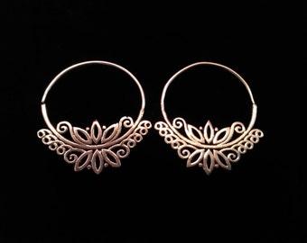 Tribal lotus hoops earrings.Silver plated.Ethnic design.Boho lotus hoops.Gift for her.