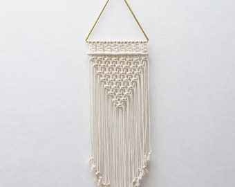 "Small Macrame Wall Hanging - Brass Macrame Tapestry - Triangle - Macrame Wall Art - Macrame Patterns - Wall Tapestry - Home Decor - ""ALETTA"""