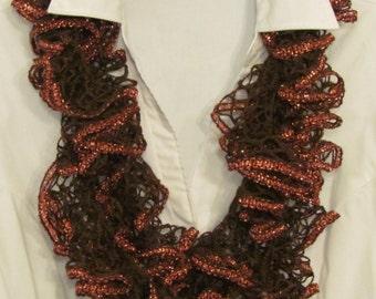 Brown Crochet Ruffle Scarf