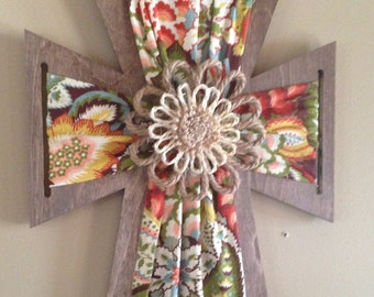 Fabric Wrapped Wooden Cross with Embellishment