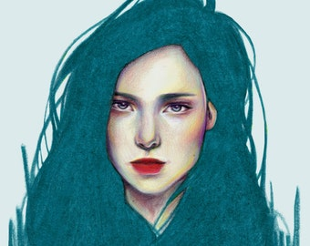 The girl with blue hair, Illustration printing