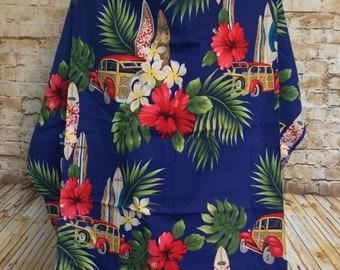 Blue Hawaiian Print Nursing Cover Up - Nursing Apron - Breastfeeding Cover