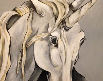 Original Acrylic and Ink Horse, Unicorn Painting