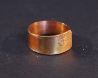 Copper wraparound Om ring