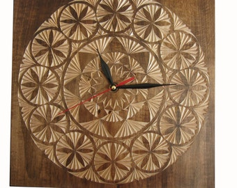 "Wooden Wall Clock, Natural Wood Clock.""Geometry""."