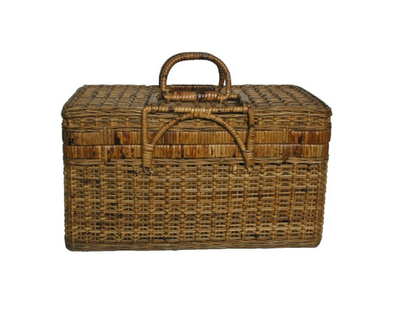 Wicker Baskets With Handles And Lid : Vintage wicker basket large woven with lid and handles