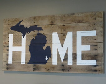 "Michigan Home Pallet Sign  20"" x 40"" Michigan Home Sign - Pallet Wood Sign - House Warming Gift - Wedding GIft  - Michigan sign"