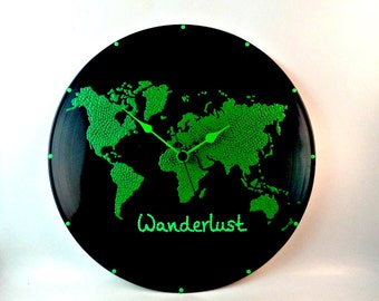 World map, Wall clock, World map clock, Vinyl clock, Globe map, Earth map, Green planet, Green planet, Wall art, Home Decor, MiniDotClocks