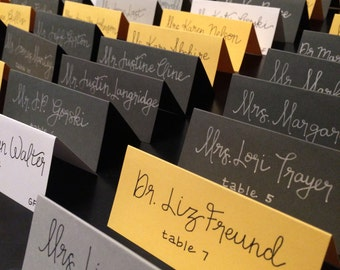 Handwritten Wedding Calligraphy Place Cards, Custom Made
