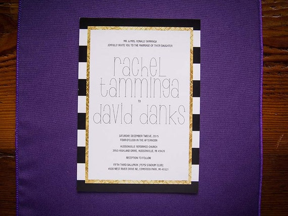 Stripes Digital Wedding Invitation + RSVP