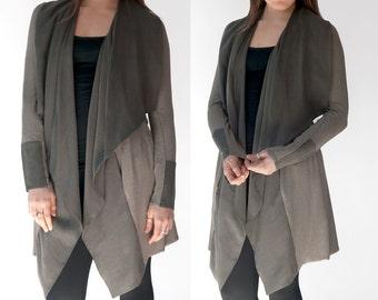 Modern Lightweight Jacket / Sophisticated Sage Knit and Tencel Jacket / Shawl Collar & Pockets / Shape-Flattering Fun Jacket / Tristam Sage