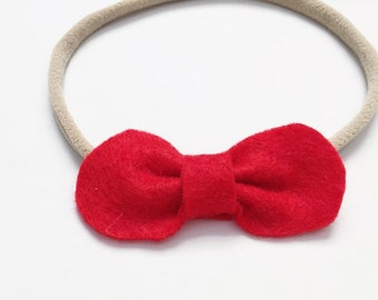 Baby Girl, Toddler, Red Felt Petite Bow