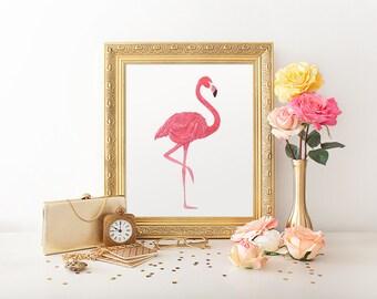 Pink Flamingo, Printable Flamingo, Nursery Print, Watercolor Print, Flamingo Print, Nursery Decor, Wall Art Print, Watercolor Flamingo