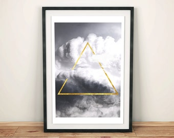 Geometric Minimalist Triangle Wall Art, Gold Detail, Cloud Photo, Abstract Print, Clouds Printable, Modern Poster,Printable Instant Download