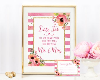 Date Jar Sign Includes Date Idea Cards - Date Jar Sign - 8x10 Wedding sign - BS30