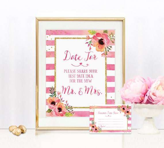 Date Jar Sign Includes Date Idea Cards - Date Jar Sign - 8x10 Wedding sign