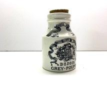 Vintage Stoneware French Mustard Pot, Grey-Poupon Dijon Moutarde Paris - 1900 Sarreguemines