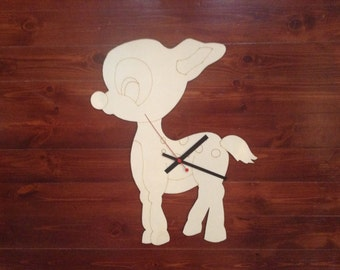 "Wooden wall clock ""Victoria"" the little deer!"
