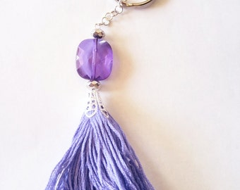 Purple Tassel Keychain with Beads  boho tassels hippie keychains  girly key chains  bag accessories  gift ideas  key chains  embroidery 