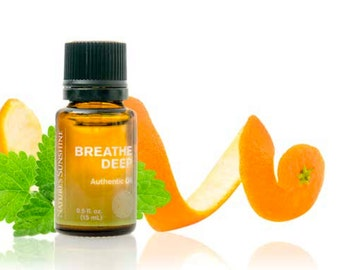 100% pure, Breathe Deep, essential oil blend, Lemon, Orange, Eucalyptus, Spearmint, Tea Tree, Nature's Sunshine