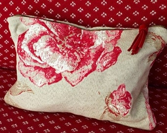 Pouch Toile de Jouy red and Beige