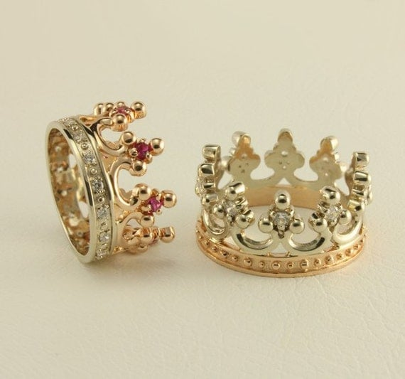 Crown Two Tone Gold Wedding Ring Set Royal Rings