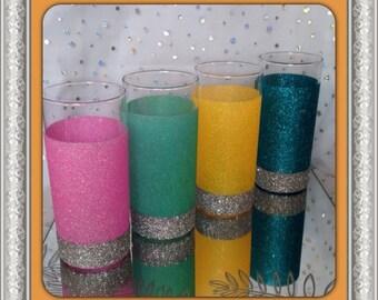 Set of 4 Summer Shades Glitter Glasses
