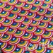 Colorful rainbow hearts on cotton lycra stretch knit fabric - 95/5 - four way stretch knit fabric