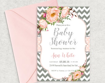 Grey Chevron Baby Shower Invitations, Silver Shine and Pink Invitation, Printable Invitation, Girl Baby Shower Invite, Custom invitation
