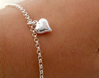 Sterling Silver Heart Charm Bracelet 925 Thin Chain Silver puffy heart Bracelet Love Bracelet Simple Silver Bracelet Dainty Heart Bracelet