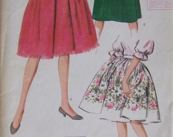 "1960's Misses Skirt in 4 Views McCall's 6201 (1961) 26"" Waist, 36"" Hips"
