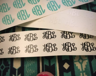 FREE suprise monogram decal!! Monogram Nail Decals - Choose Color - Monogram your fingers and Toes - Monogram everything -