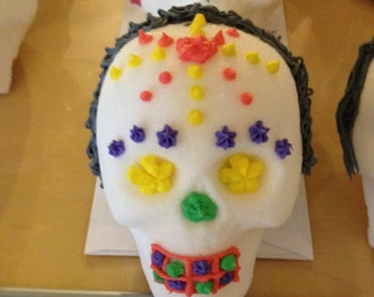 Hand made sugar skulls for day of the dead.