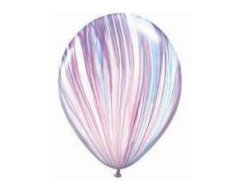 "UNICORN MARBLE BALLOONS Purple + Blue + White Marble Latex Balloon, SuperAgate Fashion (11""/28cm) - pack of 5"