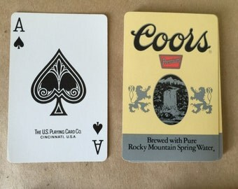 Vintage Playing Cards with Coor's Beer Logo. Beer Memorobilia. Beer Collectible