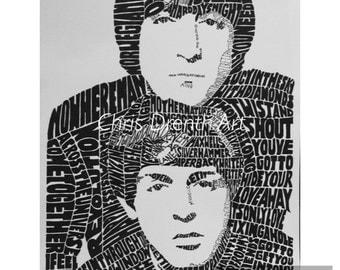 Lennon McCartney Face in Titles Print
