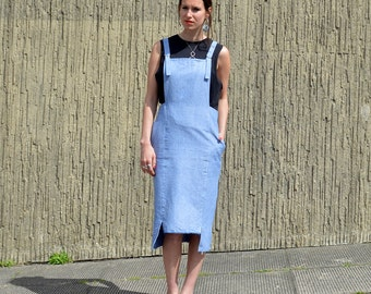 Handmade Blue Pinafore Dress made in 100% Organic Chambray, minimal style, Fair trade fabric
