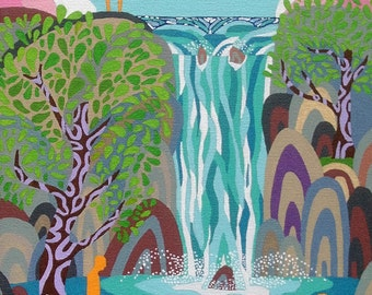 Abstract Acrylic Landscape Painting. Wall Pop Art Original Canvas Waterfall Psychedelic Modern Contemporary Home Decor Water Trees Woodland