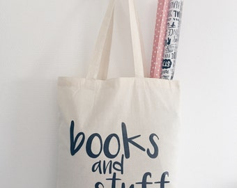 Tote bag canvas books and stuff quote text black and white cotton natural